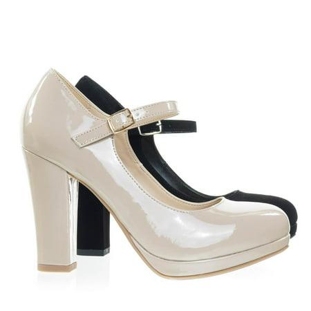 Ayden by City Classified, Foam Padded Comfortable Mary-Jane Dress Pump, Chunky Block High Heel Denim High Heel Pumps