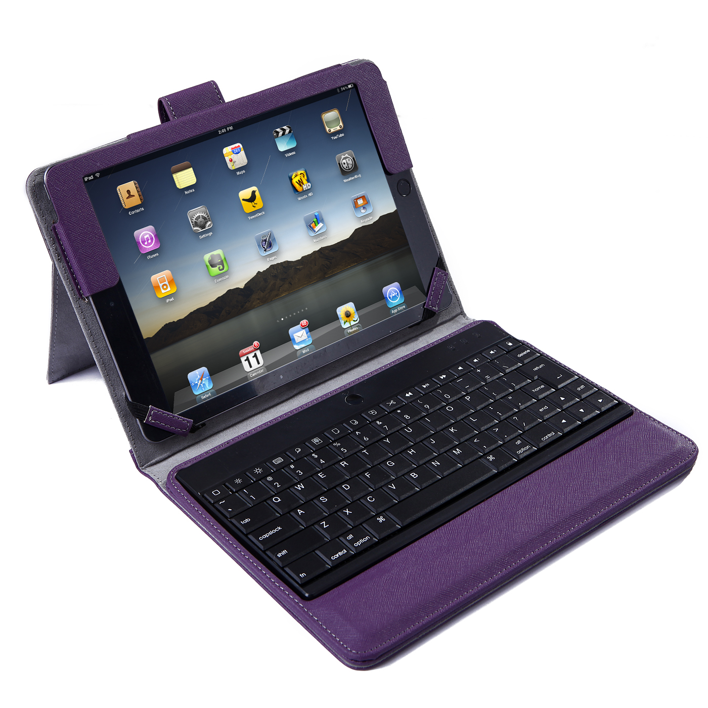 HDE Apple iPad Air 2 Case with Wireless Bluetooth Keyboard Leather Magnetic [Auto Sleep/Wake Function] Cover Multi Angle Stand for iPad Air 2 (iPad 6) (Purple)