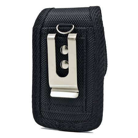 Large Vertical Rugged Nylon Canvas Carrying Holster Case with Metal Belt Clip & Loop Compatible with Sony Xperia XZ2 Compact Devices - (Fits With Otterbox Defender, Commuter, LifeProof Cover On It) - image 3 de 9