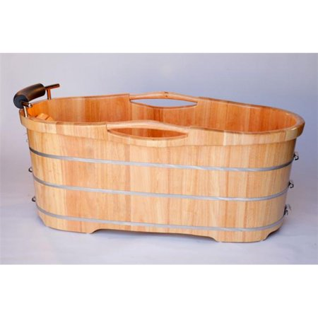 61'' Free Standing Oak Wood Bath with Cusion Headrest - Natural Wood - image 1 of 1