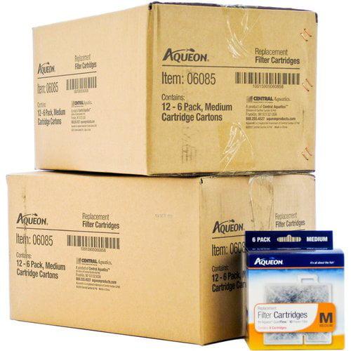 Aqueon QuietFlow Replacement Filter Cartridge Medium BULK 144 Cartridges (24 x 6 Packs) by Aqueon
