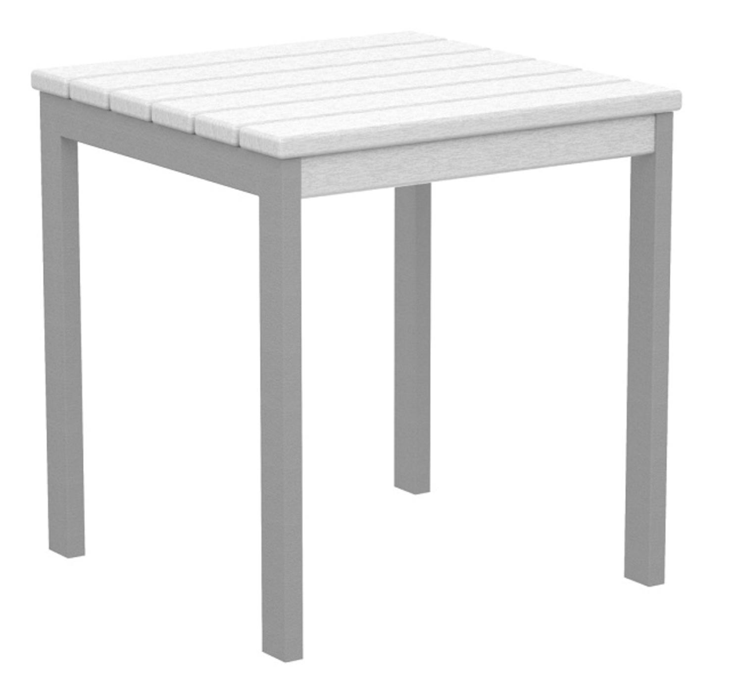 """18"""" Recycled Earth-Friendly Square Side Table - White with Silver Frame"""