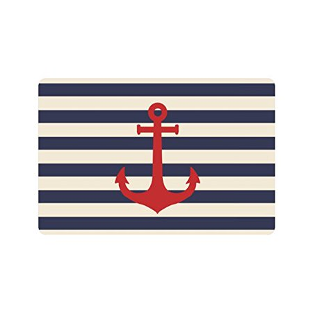 Nautical Bath Rugs (MKHERT Navy Blue Striped Marine Background with Nautical Anchor Doormat Rug Home Decor Floor Mat Bath Mat 23.6x15.7 inch)