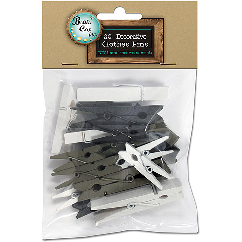 Decorative Clothespins Assorted Sizes, 20pk, Black, White and Brown Assorted