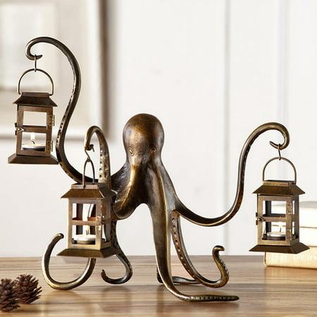 Longshore Tides Octopus Aluminum Lantern Candelabra