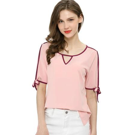 Women's High Low Hem V Cut-out Front Contrast Color Bow Tie Cuffs Top Blouse Shirt