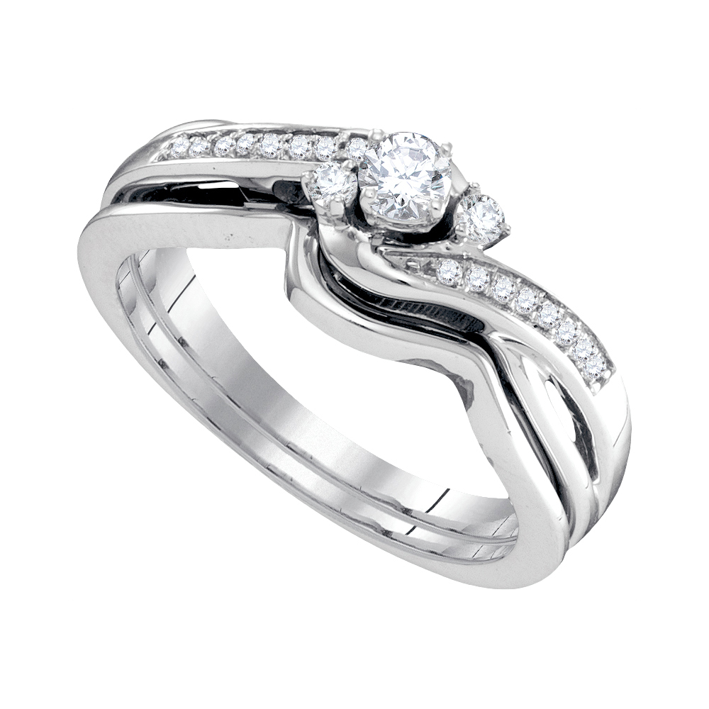 10k White Gold Womens Round Diamond Wedding Bridal Engagement Ring Band Set 1 4 Cttw by GND