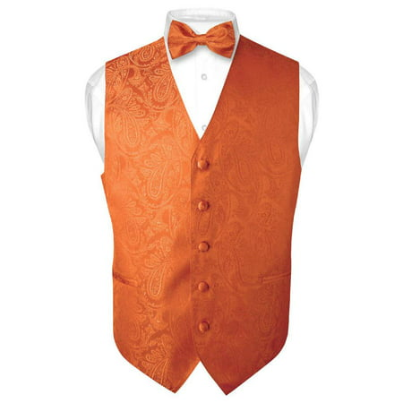 Men's Paisley Design Dress Vest & Bow Tie BURNT ORANGE Color BOWTie Set - Vest Bow Tie