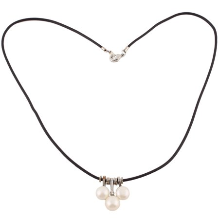 - Lady Faux Pearls Round Beads Pendant Party Sweater Necklace White