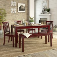 Lexington Large Dining Set with Bench and 4 Mission Back Chairs, Multiple Finishes