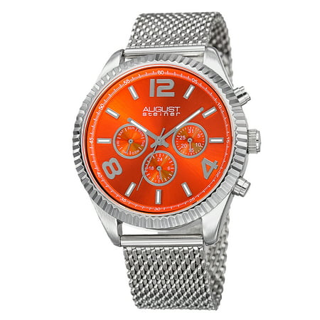 Men's Swiss Quartz Multifunction Dual Time Stainless Steel Orange Bracelet -