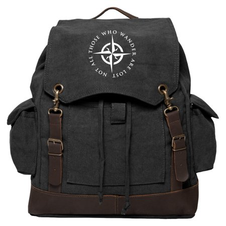 LOTR Not All Those Who Wander Are Lost Rucksack Backpack with Leather Straps (Doctor Who Backpack)