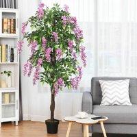 6-Feet Artificial Wisteria Silk Tree Pink Flower Indoor Outdoor Decorative Plant