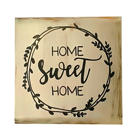 Rustic Wood Plaque (1 Pcs Decorative Rustic Wood Signs Home Sweet Sign Plaque Housewarming Gift Farmhouse Style Distressed)