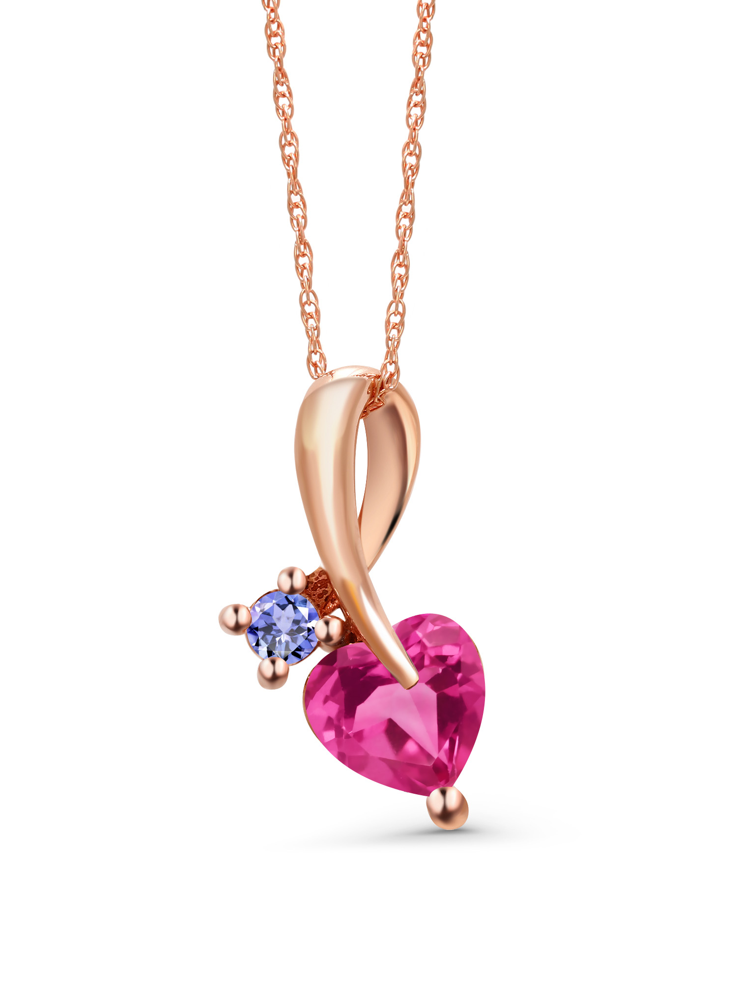 0.92 Ct Heart Shape Pink Created Sapphire Blue Tanzanite 10K Rose Gold Pendant by