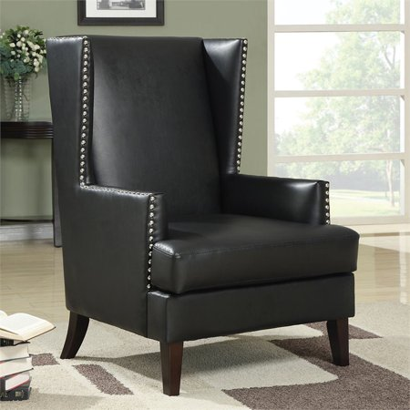 Pemberly Row Faux Leather Wing Back Accent Chair with Nailhead Trim - image 1 of 2