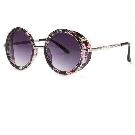 Large Round Shield (Studio Cover Metal Frame Side Shield Round Fashion LARGE Sunglasses Black Vintag )