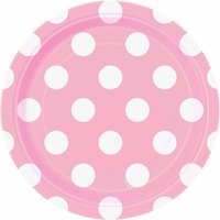 "7"" Polka Dot Paper Dessert Plates, Light Pink, 8ct"