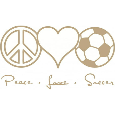 Custom Wall Decal Peace Love Soccer Living Room Home Decor Sticker - Vinyl Wall - : 8 X 16