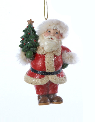 """3.75"""" Vintage Santa Holding a Mini Tree with Star Topper Christmas Ornament"""