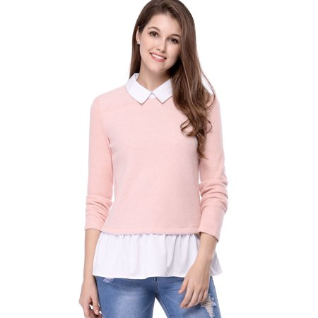 Unique Bargains Women's Contrast Hem Knitted Sweater Pink (Size S / 6)