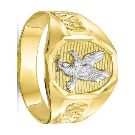 10k Eagle - 10k Yellow Gold w/Rhodium Men's Eagle Ring