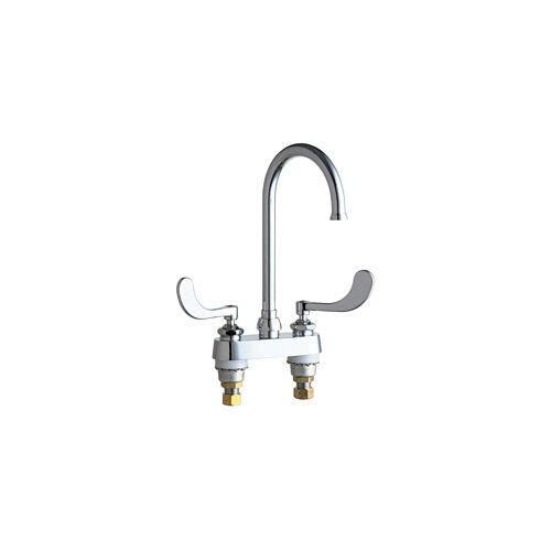 Chicago Faucets 895 317GN2FCAB Commercial Grade Centerset Kitchen Faucet  With Wrist Blade Handles   4