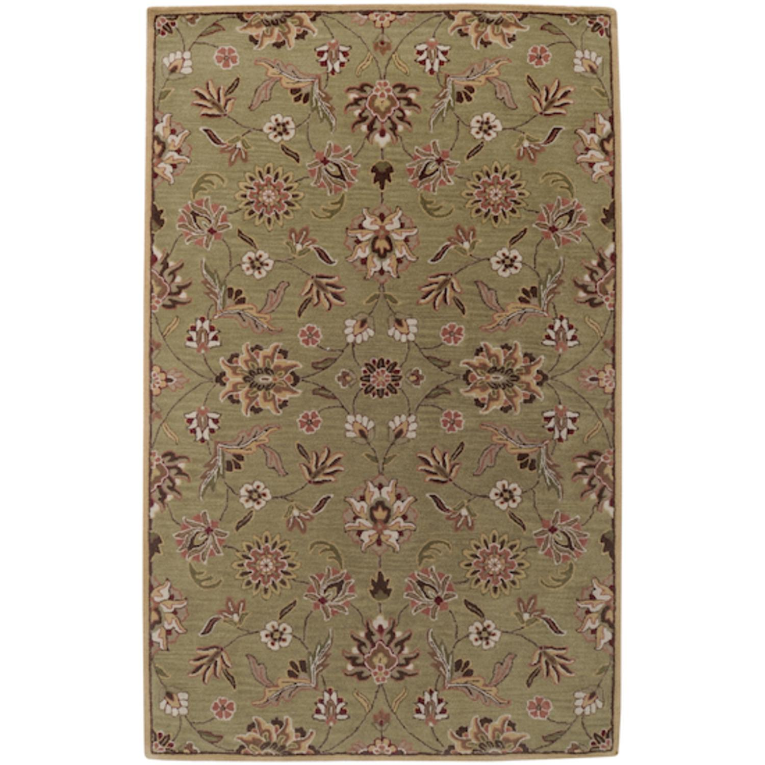 5' x 8' Narcissus Turtle Green and Driftwood Brown Wool Rectangular Area Rug