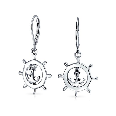 Nautical Boat Ship Wheel Anchor Small Leverback Dangle Earrings For Women For Teen 925 Sterling Silver