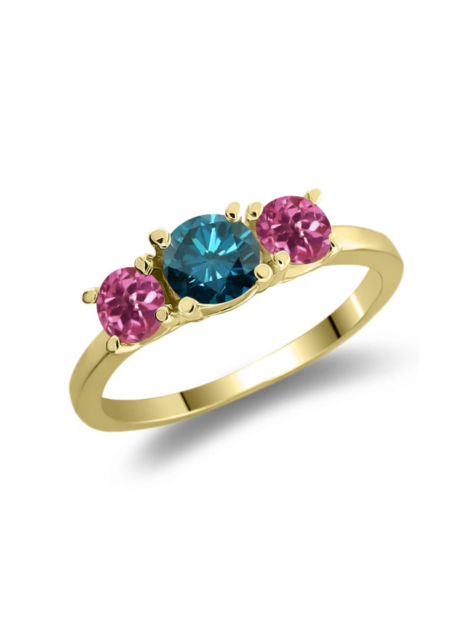 1.03 Ct Round Blue Diamond Pink Tourmaline 925 Yellow Gold Plated Silver Ring by
