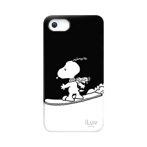 iLuv Peanuts Snowboarding Snoopy on Black Rubberized Hard Case for Apple iPhone SE/5/5S