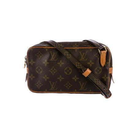 Louis Vuitton Monogram Canvas Speedy (Louis Vuitton Marly Pochette Monogram Bandouliere 869012 Brown Coated Canvas Cross Body Bag PRE-WONED )