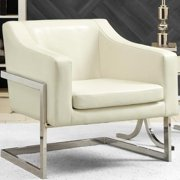 Zoli Mid Century Modern Design Cream/ White Upholstered Accent Chair with Chrome Base