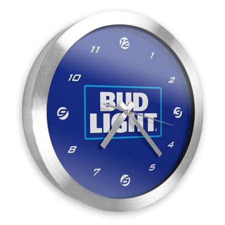 Image of Bud Light 12 Inch Brushed Aluminum Wall Clock