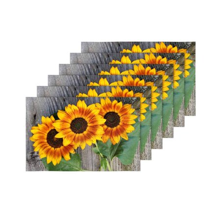YUSDECOR Old Wood Boards with Sunflowers Vintage Concept Placemats Table Mats for Dining Room Kitchen Table Decoration 12x18 inch,Set of 6 - image 4 of 4