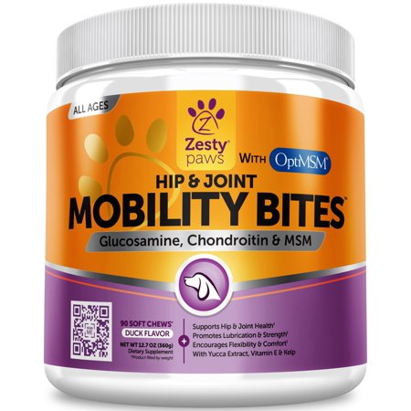 Zesty Paws Hip & Joint Support Chews for Dogs with Glucosamine Chondroitin & MSM, 90 Soft Chews