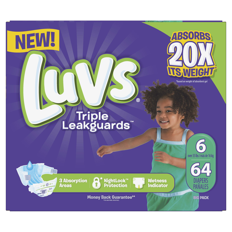 Luvs Triple Leakguards Diapers Size 6 64 Count