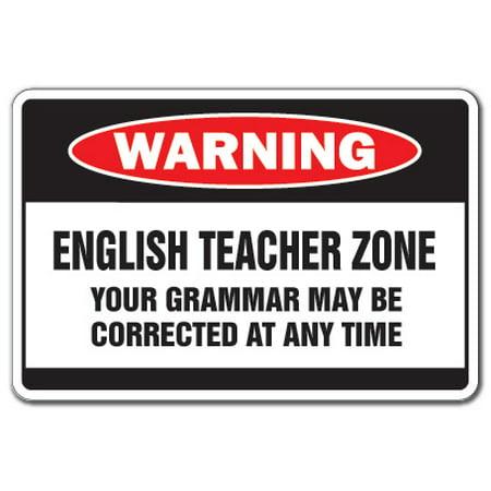 ENGLISH TEACHER ZONE Warning Decal school supplies junior high xmas books (Discount Teacher Supply)