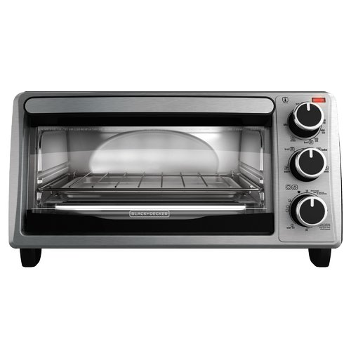 Black & Decker 4-Slice Stainless Steel Toaster Oven with Bake Pan by