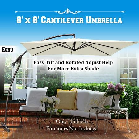 Sunrise Patio Offset Parasol, Outdoor Sunshade 8'x8' Cantilever Banana Umbrella, 360 degree Rotional Function (Ecru) ()