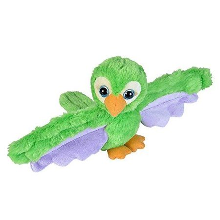 Wild Republic Huggers Green Parrot Plush Toy, Slap Bracelet, Stuffed Animal, Kids Toys, 8 Inches
