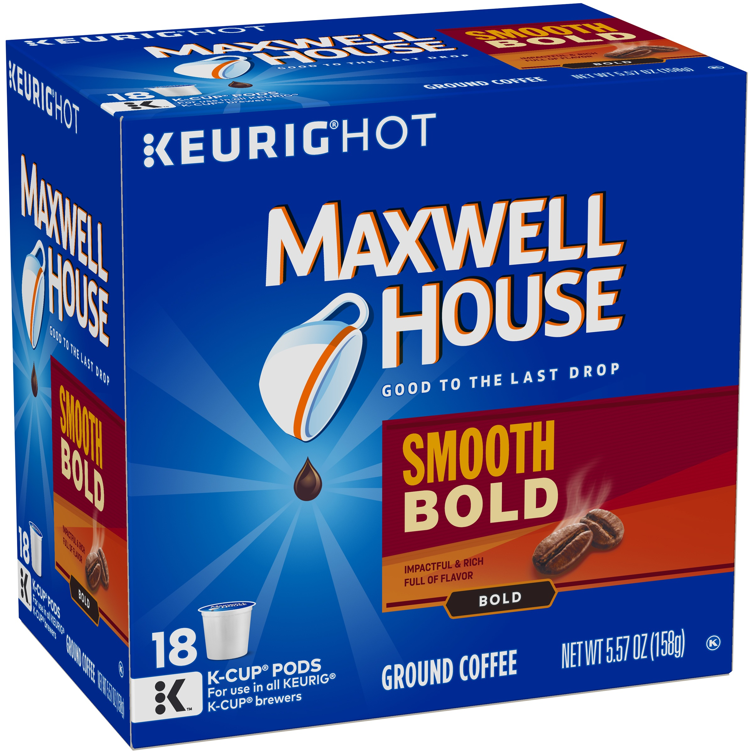 Maxwell House Smooth Bold Ground Coffee K-Cup® Pods 18 ct Box