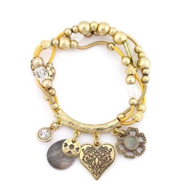 C Jewelry Gold-Tone Metal Charm Stretch Bracelets