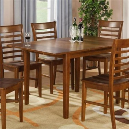 East West MT-SBR Milan Rectangular dinette kitchen Table 36 in. x 54 in.  with 12 in. butterfly leaf in brown finish, Saddle Brown