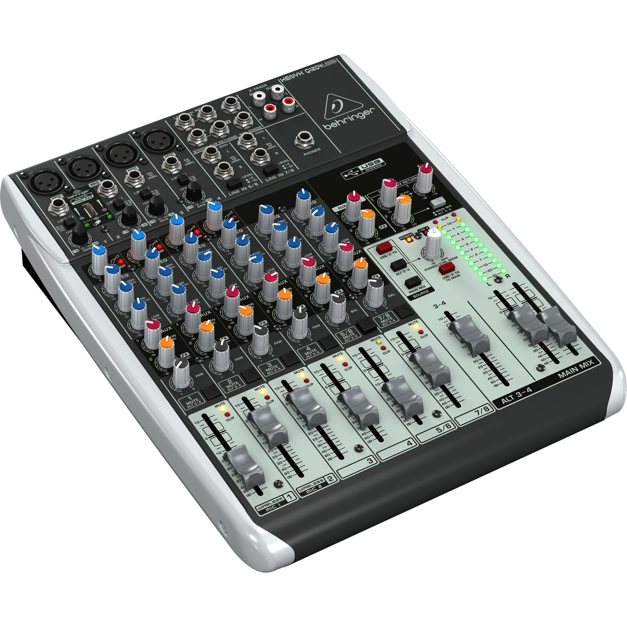 Behringer Q1204USB 12-Input 2/2-Bus USB Audio Interface Mixer w/ XENYX Mic Preamps, Compressors & Wireless Options