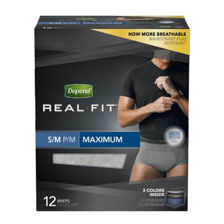 Depend Real Fit Incontinence Underwear for Men, Maximum Absorbency, S/M, Grey (Choose your count) for $<!---->