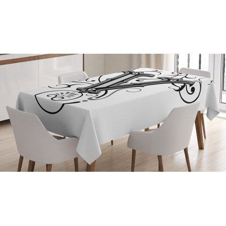 Halloween Letters Black And White (Letter V Tablecloth, Gothic Halloween Style Uppercase V with Curved Lines Ivy Stripes Calligraphy, Rectangular Table Cover for Dining Room Kitchen, 60 X 84 Inches, Black Grey White, by)