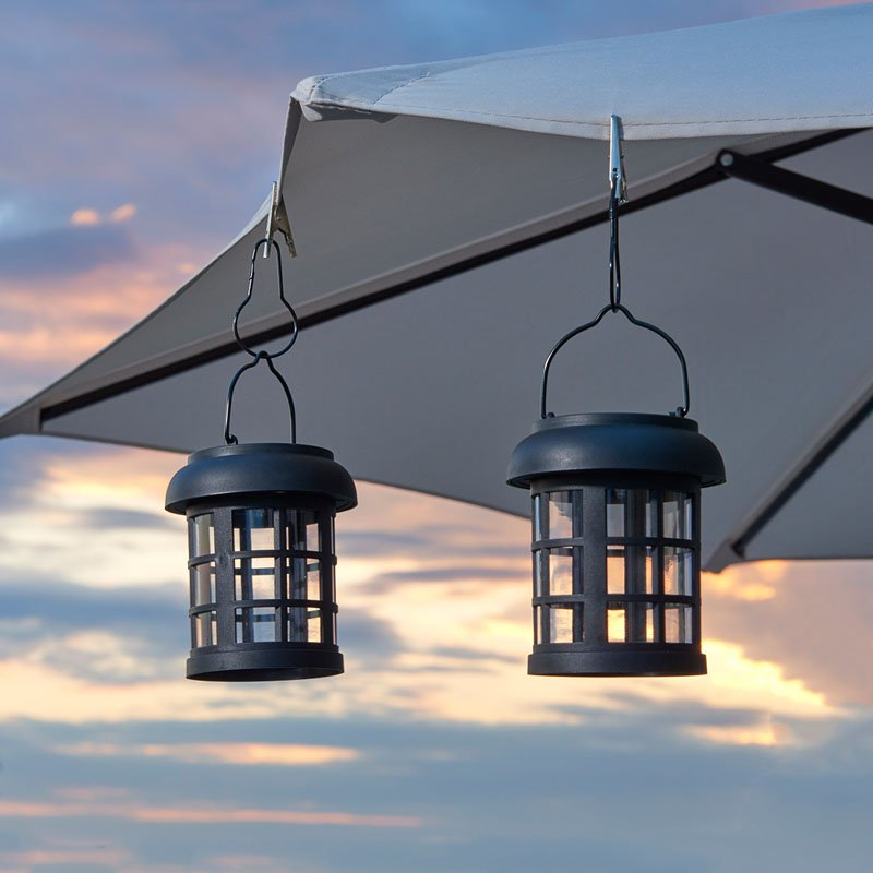 Smart Solar Hanging Umbrella Solar Lanterns  2 Pack