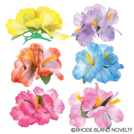 Rinco Hawaiian Luau Hibiscus Hair Clips, Assorted, One Size, 12 - Hawaiian Hair Clips