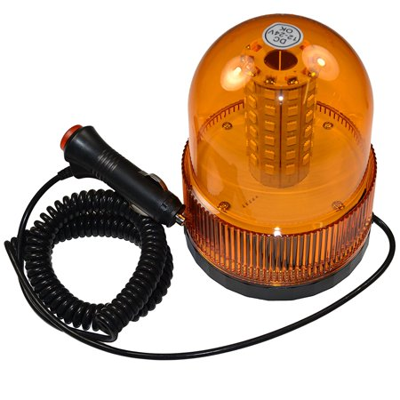 HQRP Magnetic Mount Dome Beacon Emergency Amber Strobe Light For Warning and High Visibility plus HQRP Coaster